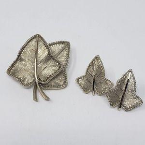 BSK Brushed Gold Tone Leaf Brooch Earring Set